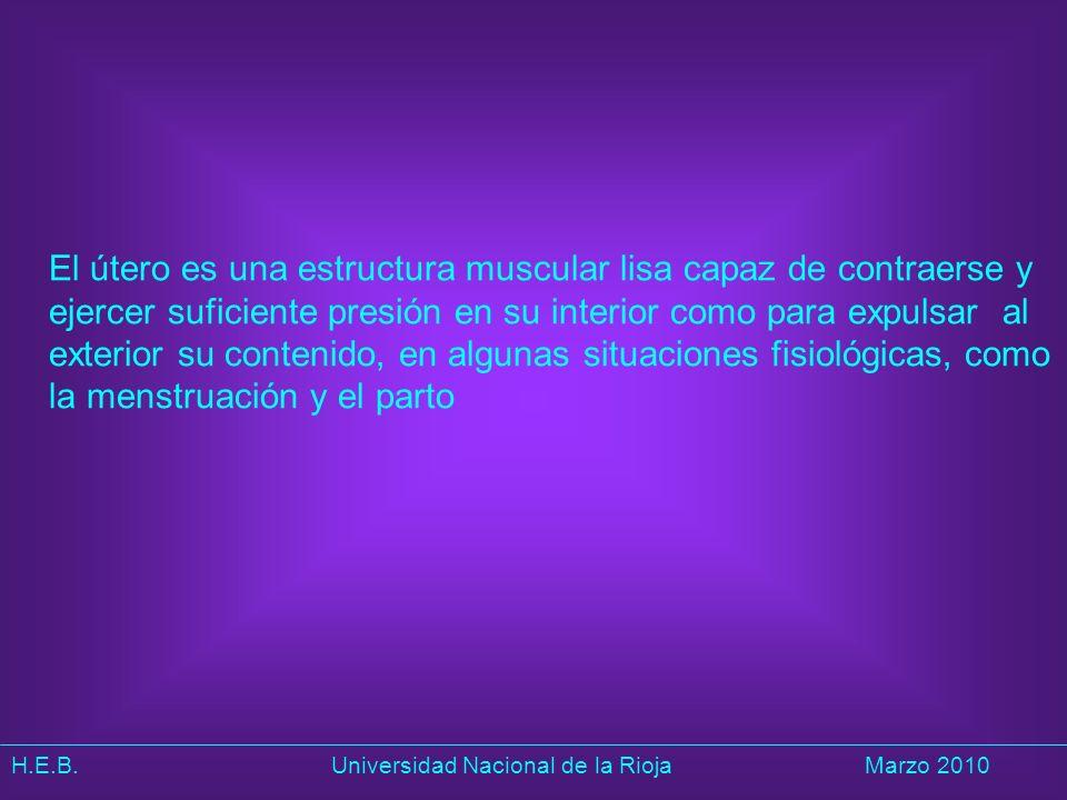 El útero es una estructura muscular lisa capaz de contraerse y ejercer suficiente presión en su interior como para expulsar al exterior su contenido, en algunas situaciones fisiológicas, como la menstruación y el parto