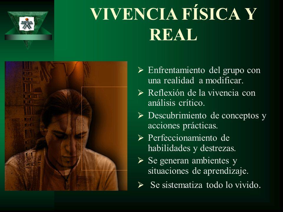 VIVENCIA FÍSICA Y REAL Enfrentamiento del grupo con una realidad a modificar. Reflexión de la vivencia con análisis crítico.