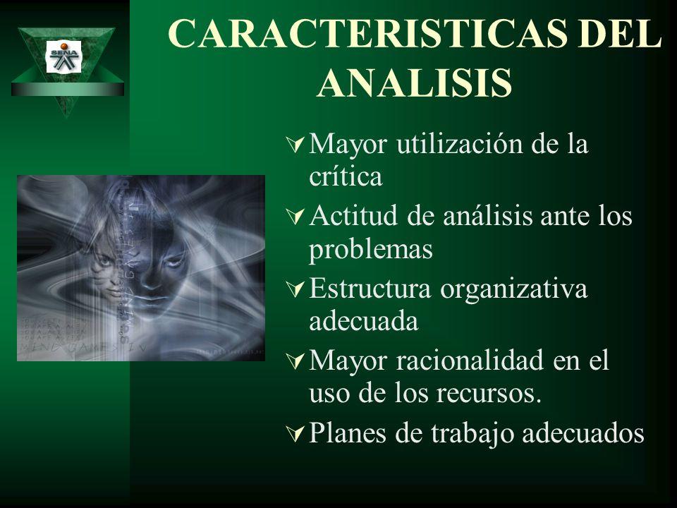 CARACTERISTICAS DEL ANALISIS