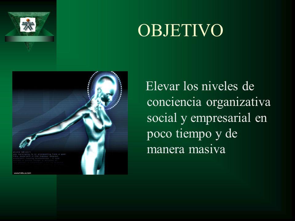OBJETIVO Elevar los niveles de conciencia organizativa social y empresarial en poco tiempo y de manera masiva.
