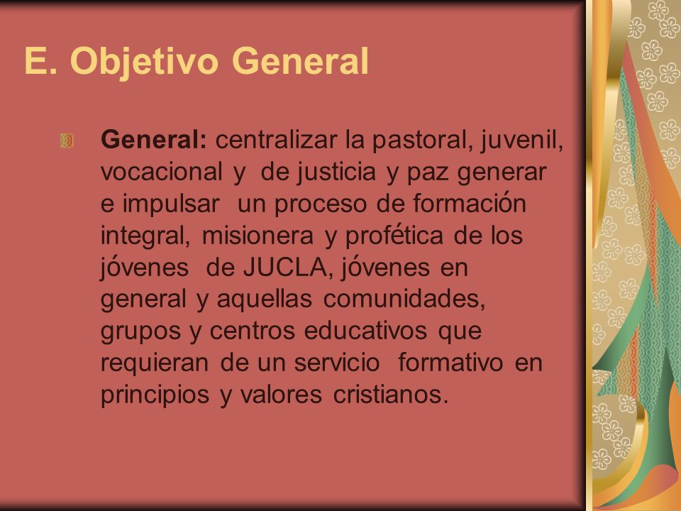 E. Objetivo General