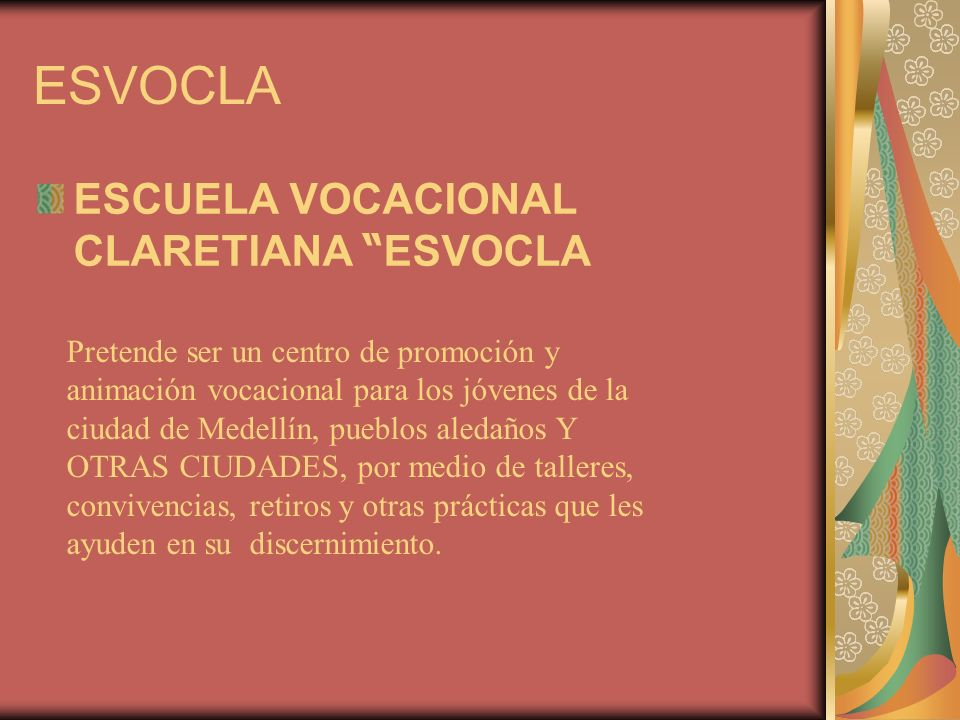 ESVOCLA ESCUELA VOCACIONAL CLARETIANA ESVOCLA