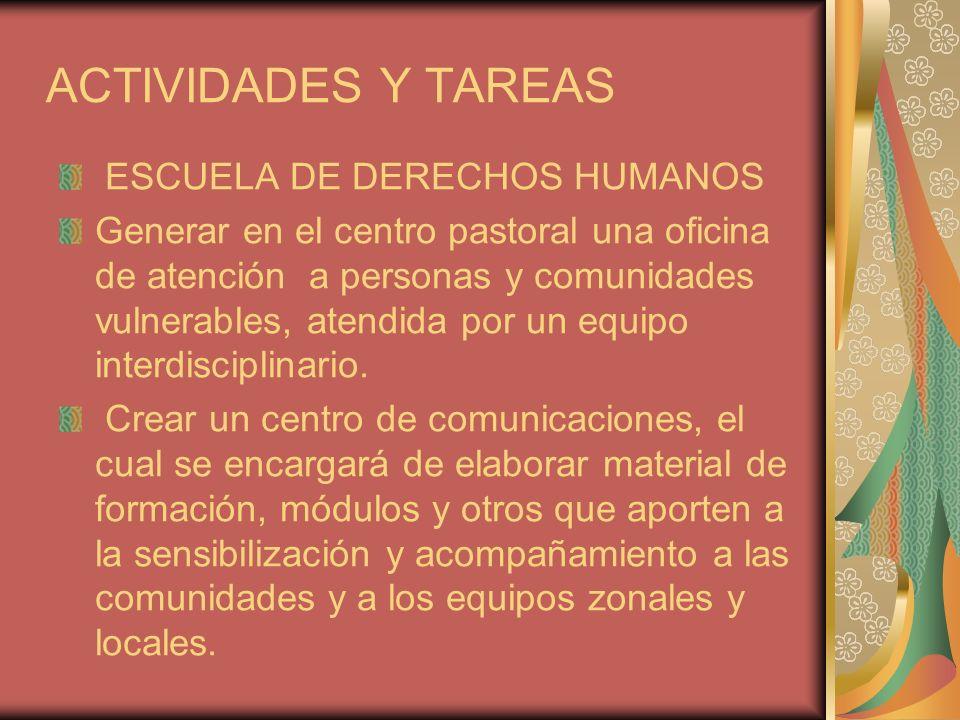 ACTIVIDADES Y TAREAS ESCUELA DE DERECHOS HUMANOS
