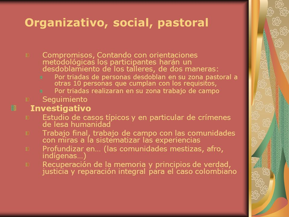 Organizativo, social, pastoral