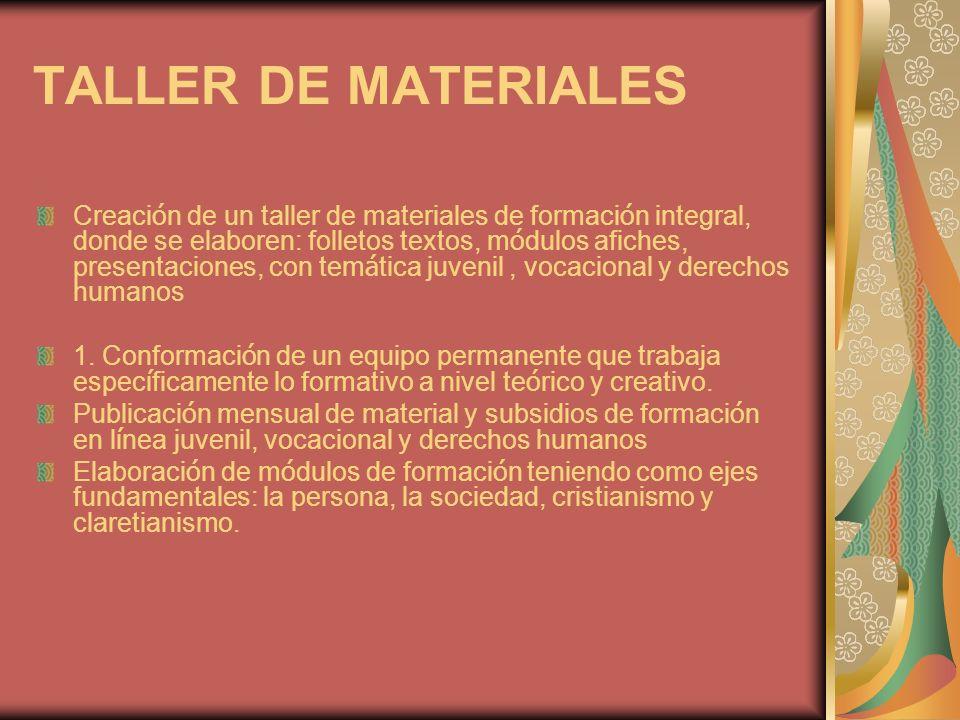 TALLER DE MATERIALES