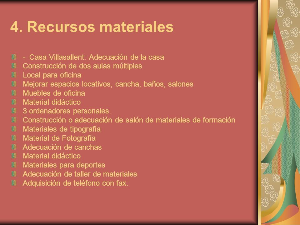4. Recursos materiales - Casa Villasallent: Adecuación de la casa
