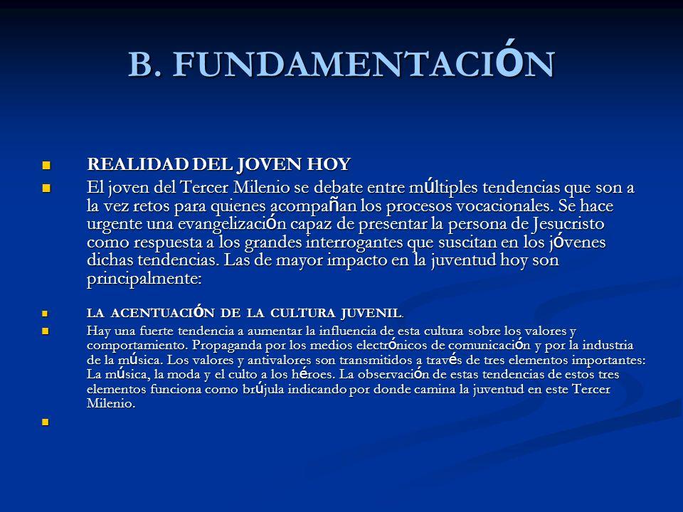 B. FUNDAMENTACIÓN REALIDAD DEL JOVEN HOY