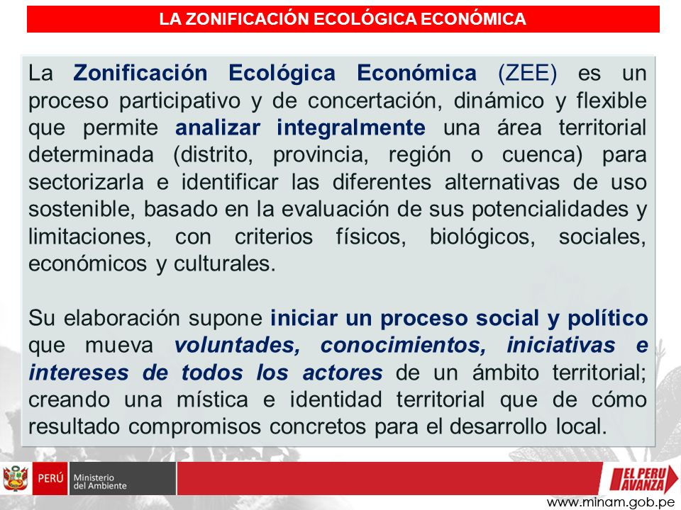 LA ZONIFICACIÓN ECOLÓGICA ECONÓMICA