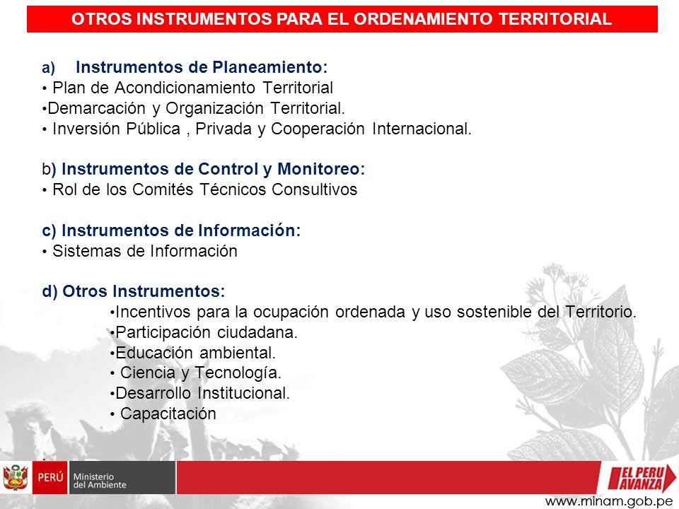 OTROS INSTRUMENTOS PARA EL ORDENAMIENTO TERRITORIAL