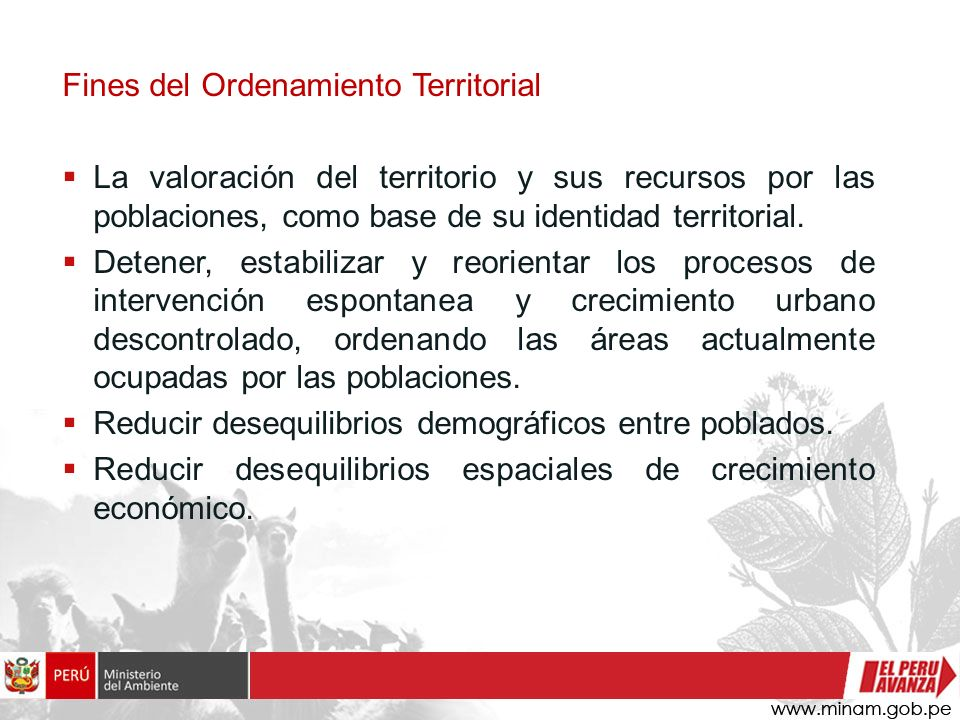 Fines del Ordenamiento Territorial
