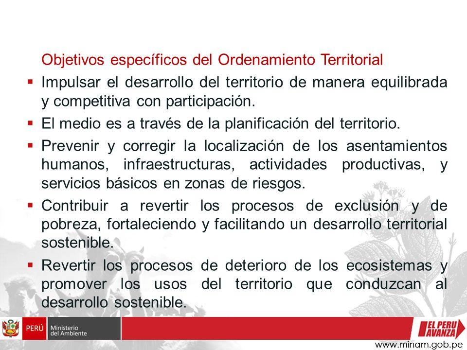 Objetivos específicos del Ordenamiento Territorial
