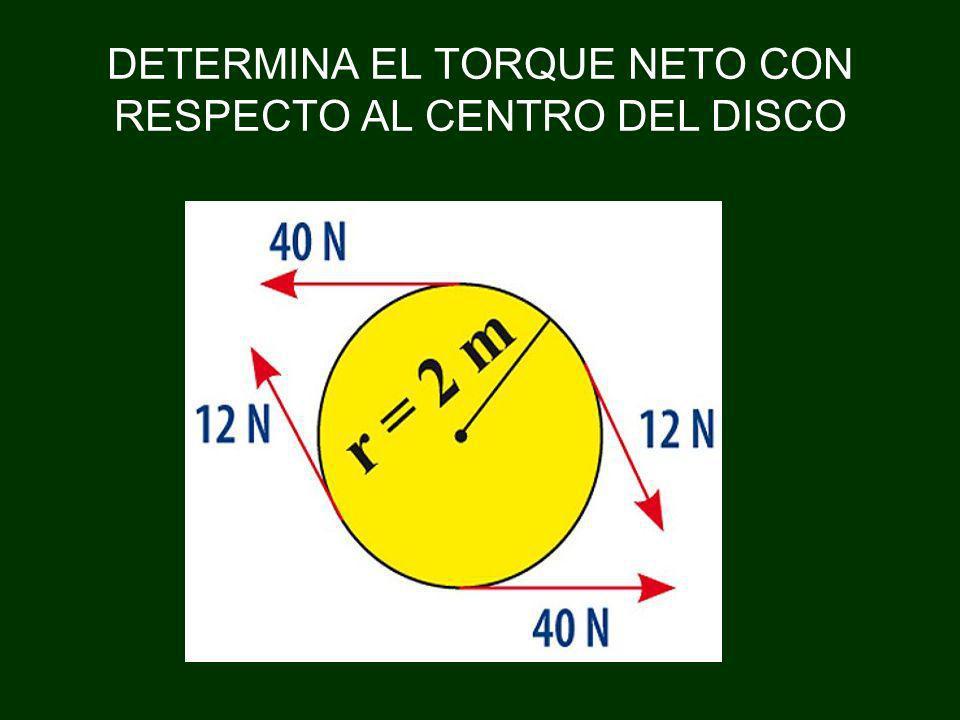 DETERMINA EL TORQUE NETO CON RESPECTO AL CENTRO DEL DISCO