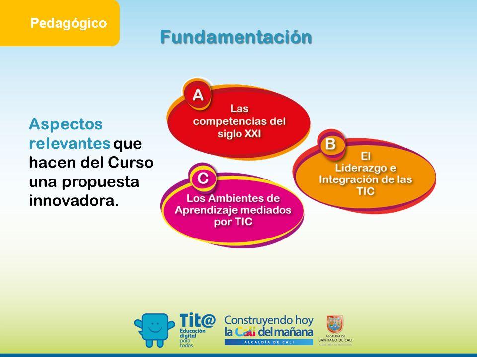 Pedagógico Fundamentación Aspectos relevantes que hacen del Curso una propuesta innovadora.