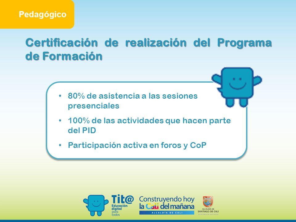 Certificación de realización del Programa de Formación