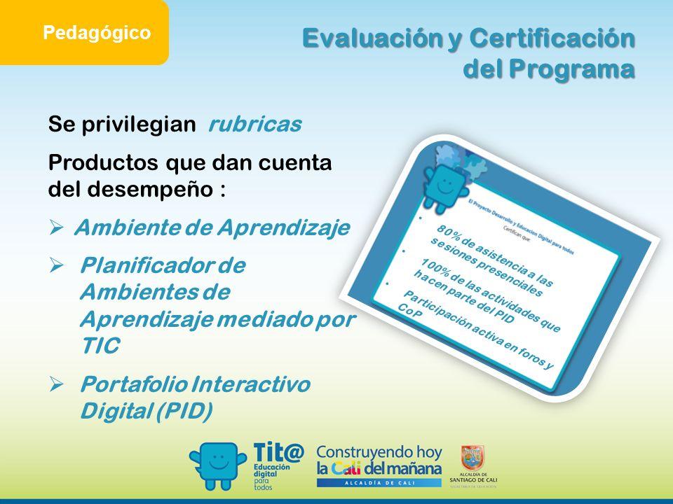Evaluación y Certificación del Programa