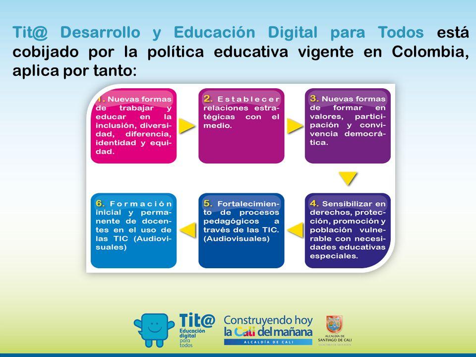 Tit@ Desarrollo y Educación Digital para Todos está cobijado por la política educativa vigente en Colombia, aplica por tanto: