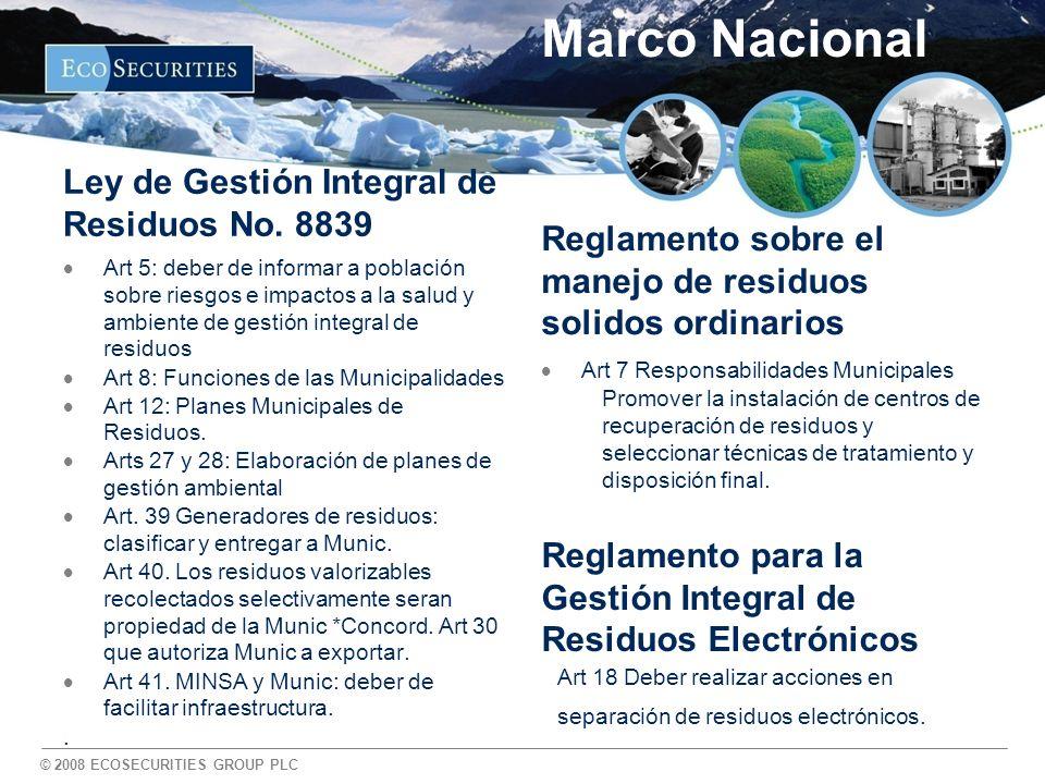Marco Nacional Ley de Gestión Integral de Residuos No. 8839