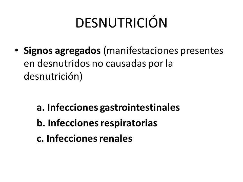 DESNUTRICIÓN Signos agregados (manifestaciones presentes en desnutridos no causadas por la desnutrición)