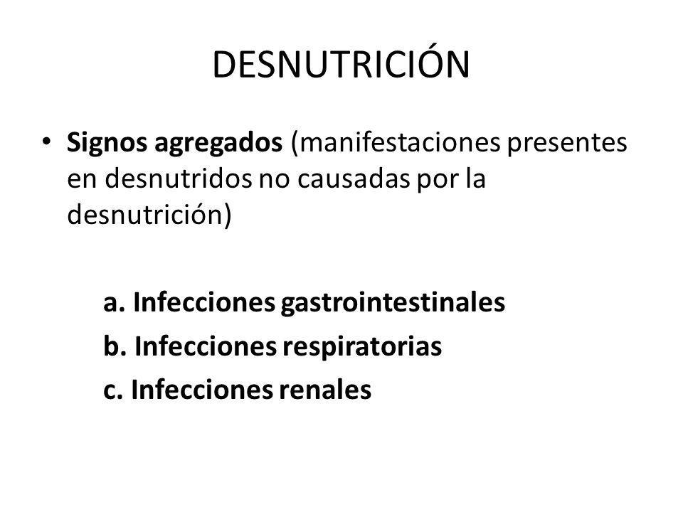 DESNUTRICIÓNSignos agregados (manifestaciones presentes en desnutridos no causadas por la desnutrición)