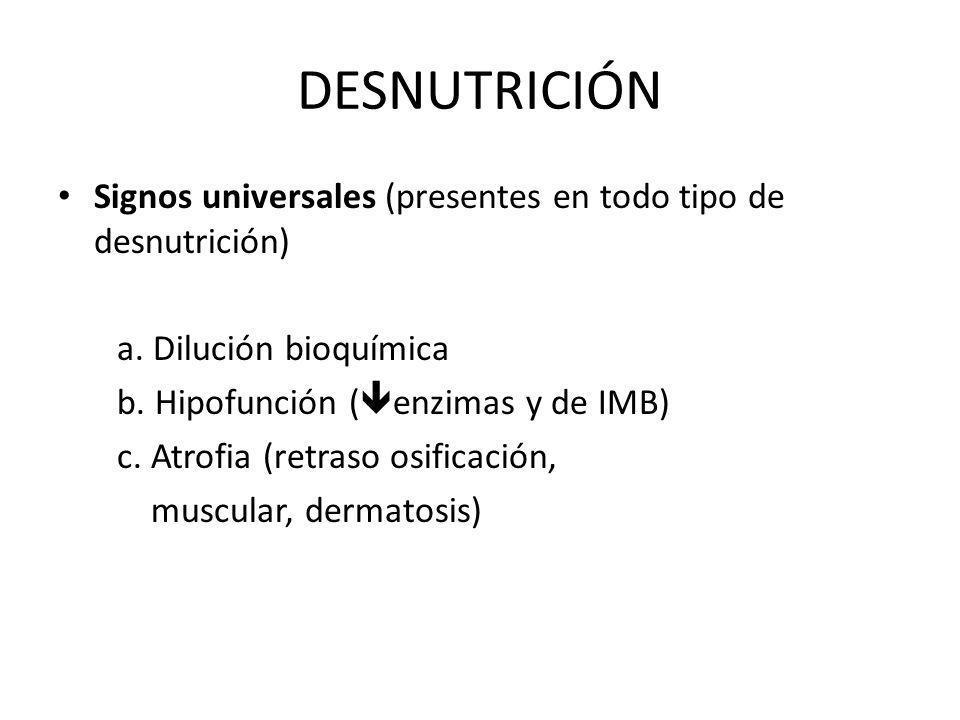 DESNUTRICIÓN Signos universales (presentes en todo tipo de desnutrición) a. Dilución bioquímica. b. Hipofunción (enzimas y de IMB)