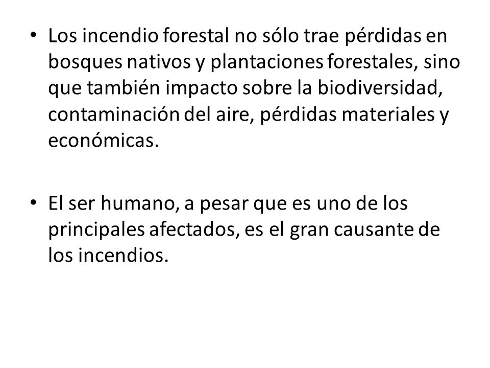 Los incendio forestal no sólo trae pérdidas en bosques nativos y plantaciones forestales, sino que también impacto sobre la biodiversidad, contaminación del aire, pérdidas materiales y económicas.