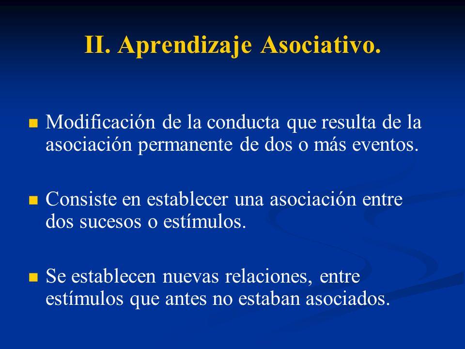 II. Aprendizaje Asociativo.