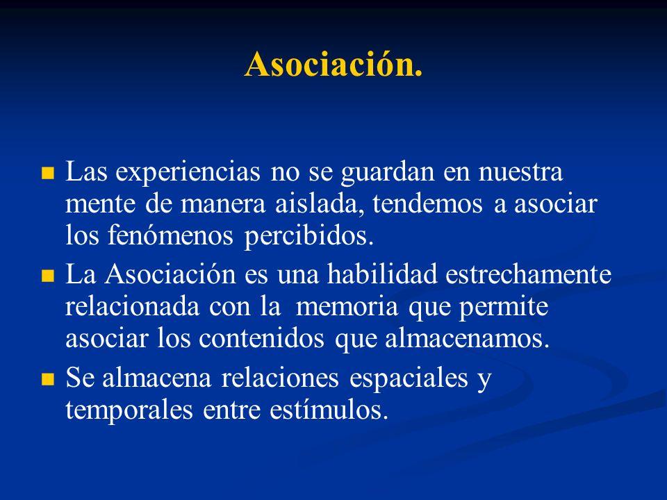Asociación.Las experiencias no se guardan en nuestra mente de manera aislada, tendemos a asociar los fenómenos percibidos.
