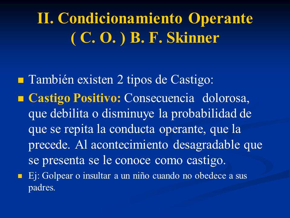 II. Condicionamiento Operante ( C. O. ) B. F. Skinner