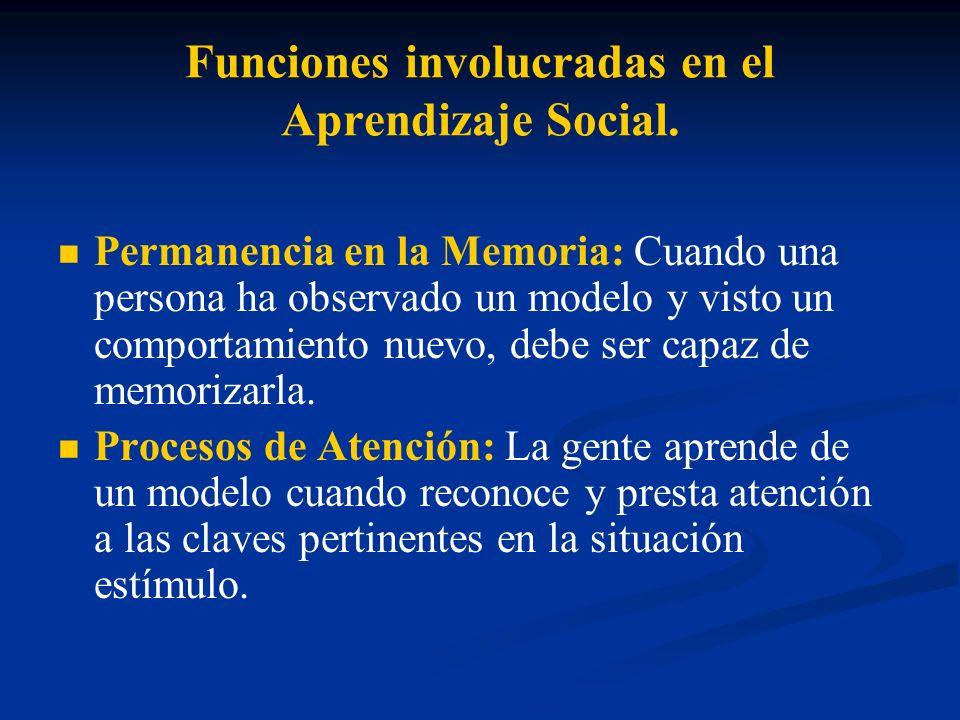 Funciones involucradas en el Aprendizaje Social.
