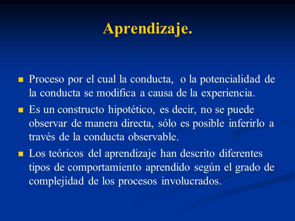 Aprendizaje.Proceso por el cual la conducta, o la potencialidad de la conducta se modifica a causa de la experiencia.