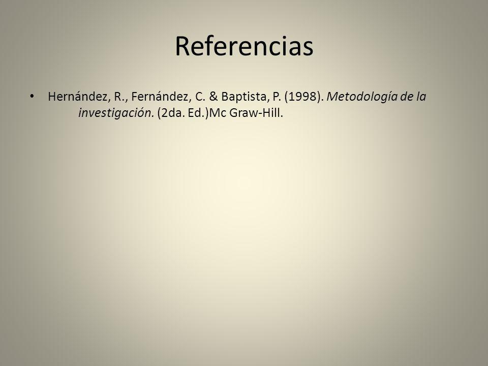 Referencias Hernández, R., Fernández, C. & Baptista, P.