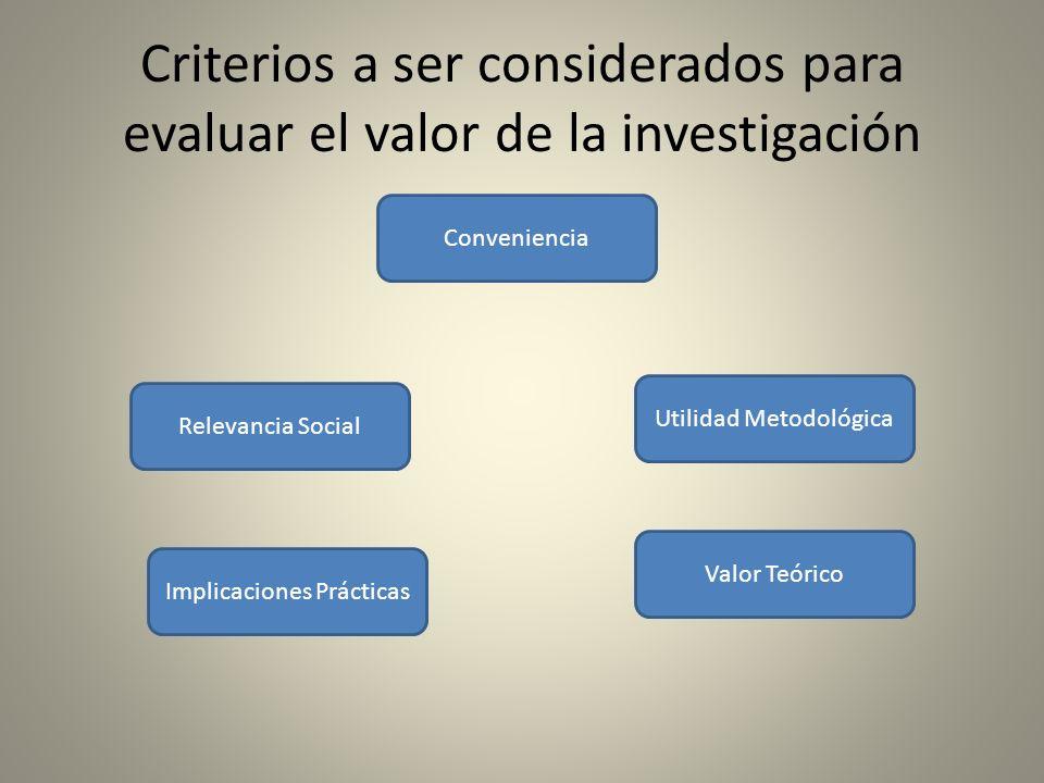 Criterios a ser considerados para evaluar el valor de la investigación