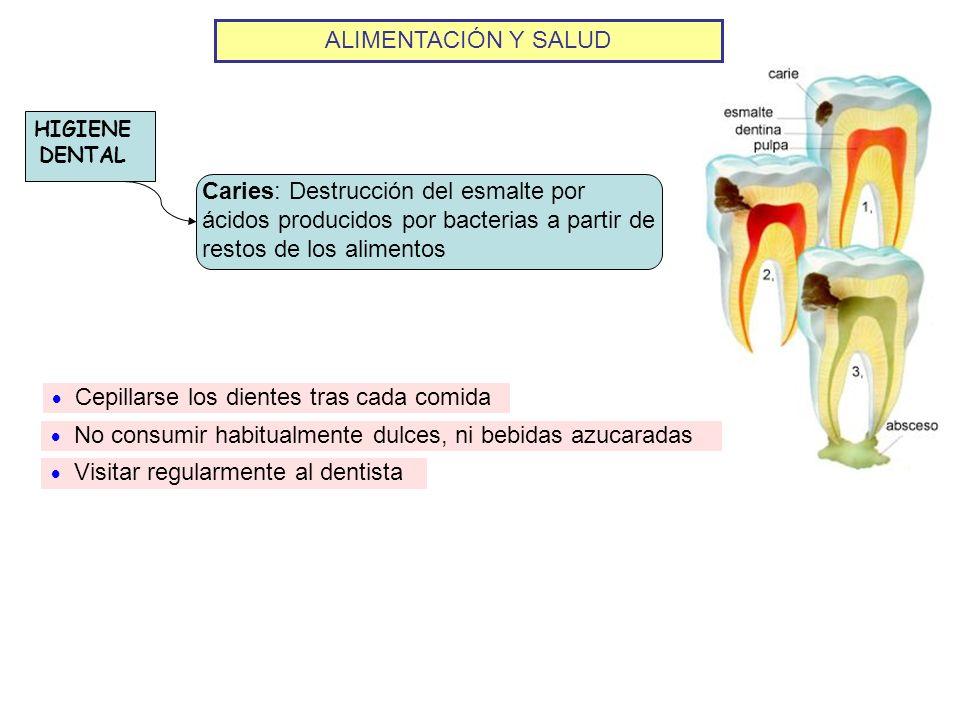 ALIMENTACIÓN Y SALUD HIGIENE DENTAL. Caries: Destrucción del esmalte por ácidos producidos por bacterias a partir de restos de los alimentos.