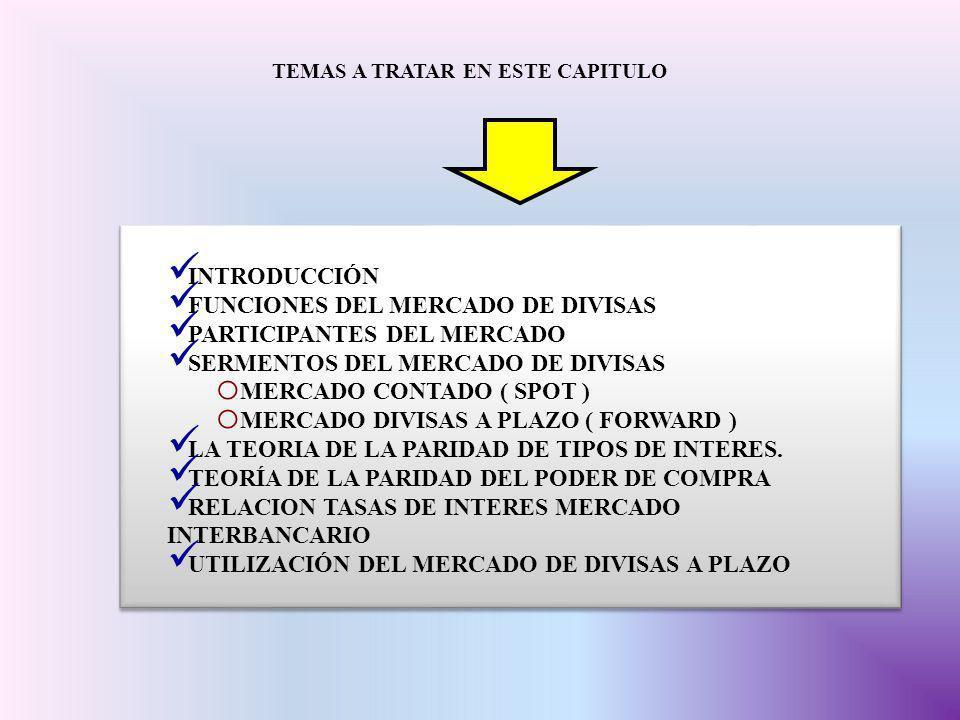 FUNCIONES DEL MERCADO DE DIVISAS PARTICIPANTES DEL MERCADO