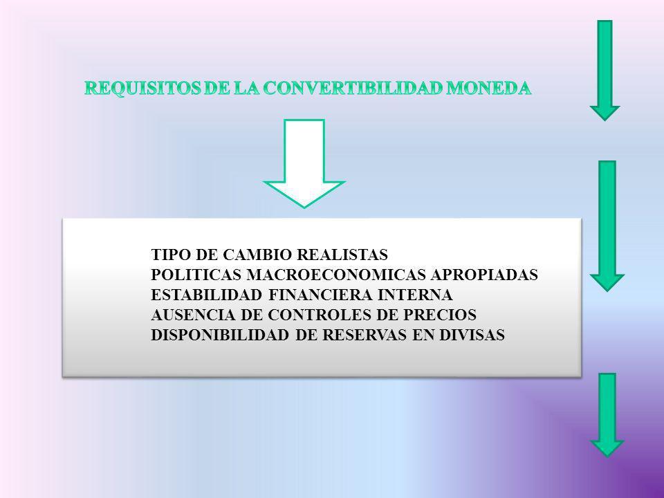 REQUISITOS DE LA CONVERTIBILIDAD MONEDA