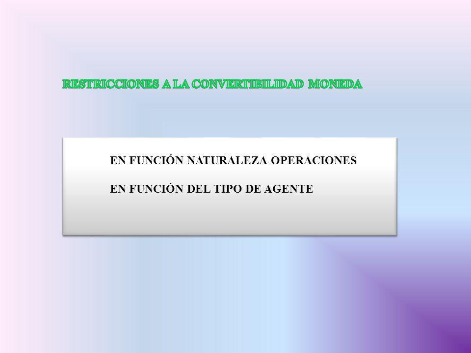 RESTRICCIONES A LA CONVERTIBILIDAD MONEDA