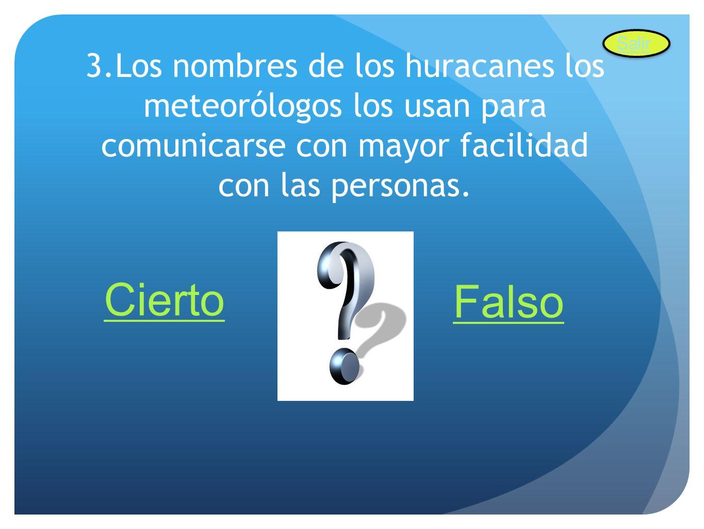 Salir 3.Los nombres de los huracanes los meteorólogos los usan para comunicarse con mayor facilidad con las personas.