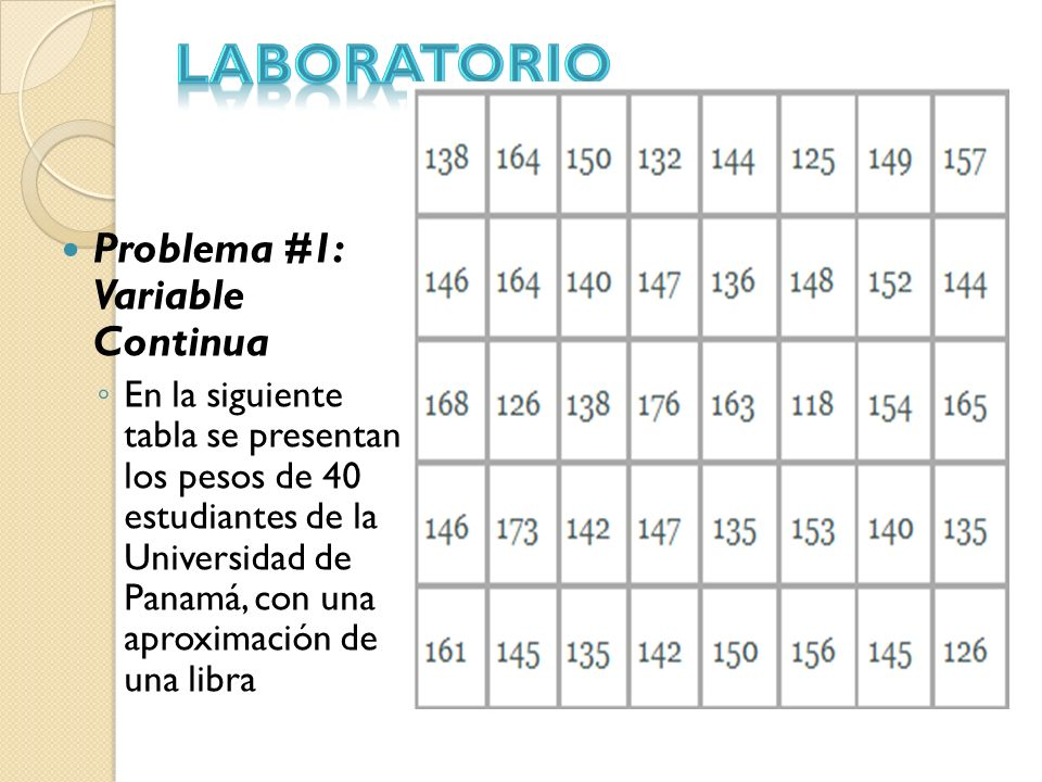 LABORATORIO Problema #1: Variable Continua