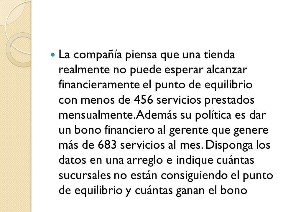 La compañía piensa que una tienda realmente no puede esperar alcanzar financieramente el punto de equilibrio con menos de 456 servicios prestados mensualmente.