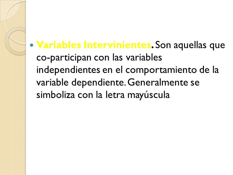 Variables Intervinientes