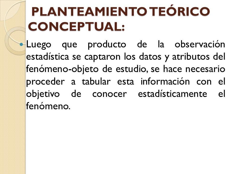 PLANTEAMIENTO TEÓRICO CONCEPTUAL: