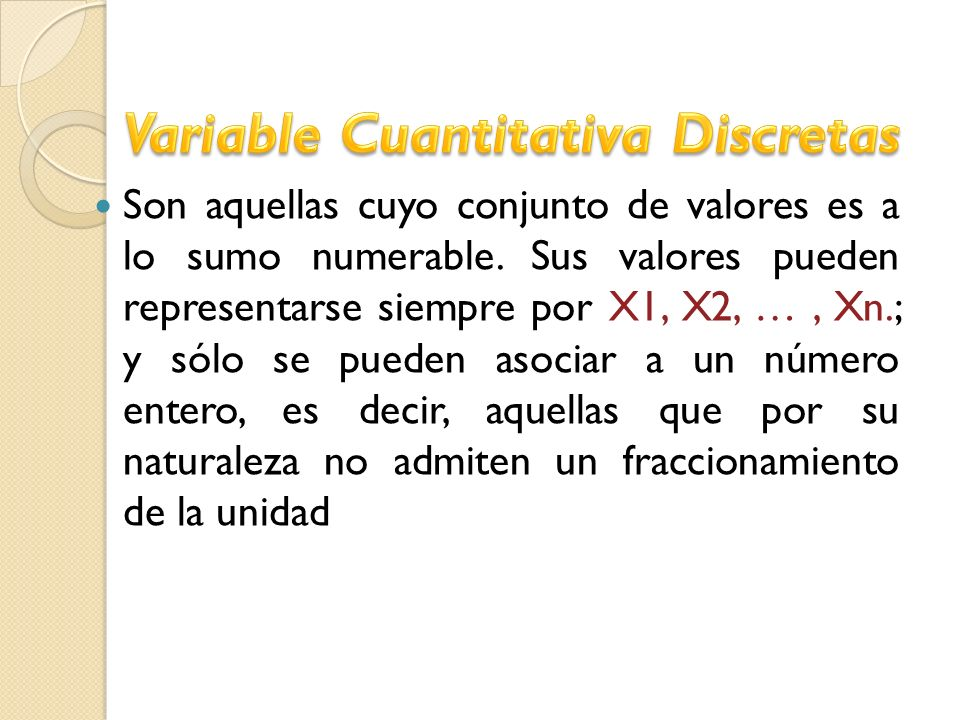 Variable Cuantitativa Discretas