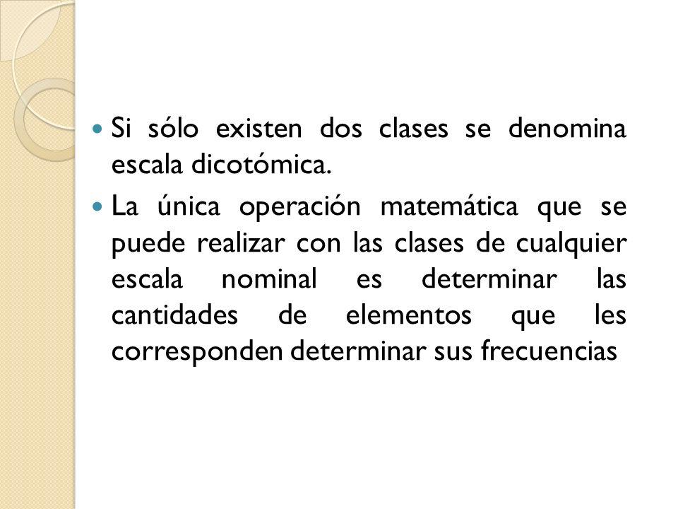Si sólo existen dos clases se denomina escala dicotómica.