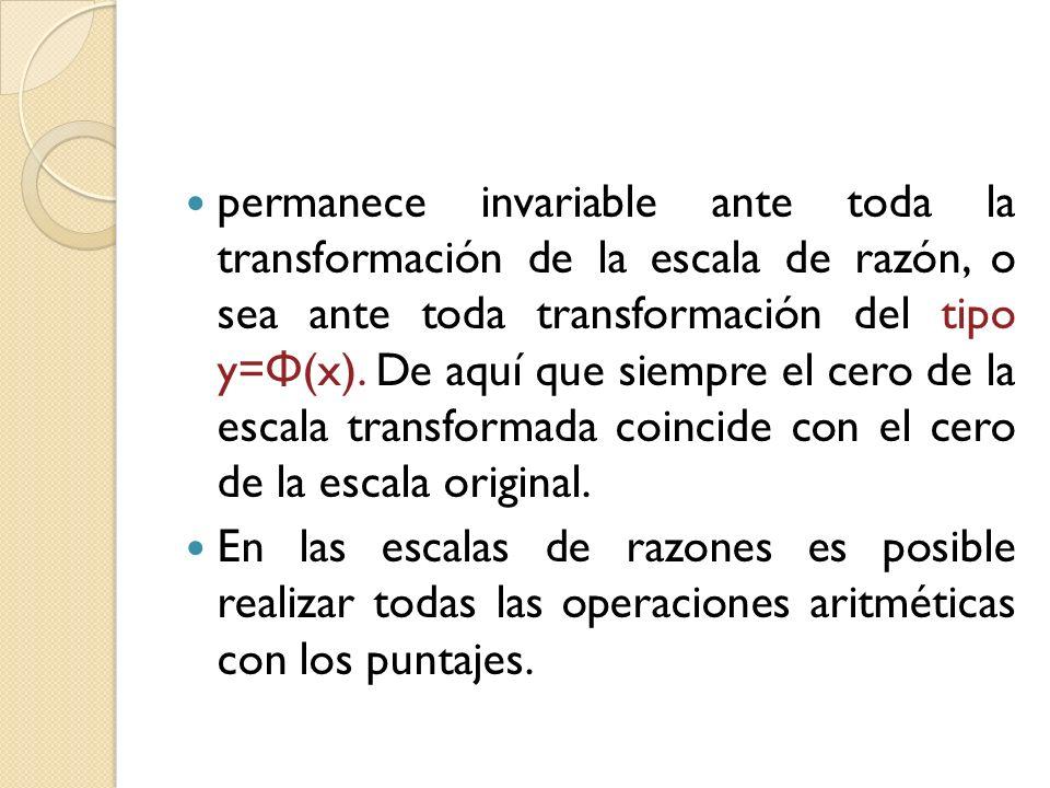 permanece invariable ante toda la transformación de la escala de razón, o sea ante toda transformación del tipo y=Φ(x). De aquí que siempre el cero de la escala transformada coincide con el cero de la escala original.