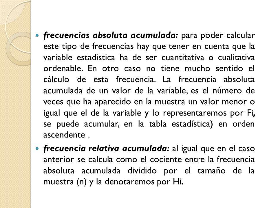 frecuencias absoluta acumulada: para poder calcular este tipo de frecuencias hay que tener en cuenta que la variable estadística ha de ser cuantitativa o cualitativa ordenable. En otro caso no tiene mucho sentido el cálculo de esta frecuencia. La frecuencia absoluta acumulada de un valor de la variable, es el número de veces que ha aparecido en la muestra un valor menor o igual que el de la variable y lo representaremos por Fi, se puede acumular, en la tabla estadística) en orden ascendente .