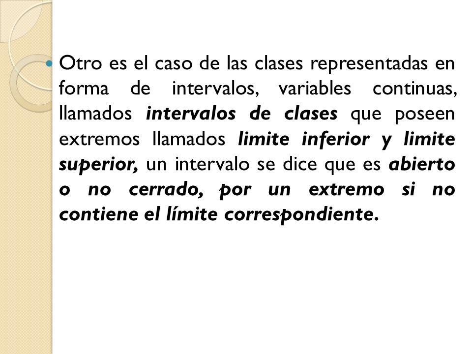 Otro es el caso de las clases representadas en forma de intervalos, variables continuas, llamados intervalos de clases que poseen extremos llamados limite inferior y limite superior, un intervalo se dice que es abierto o no cerrado, por un extremo si no contiene el límite correspondiente.