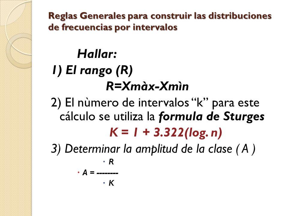 3) Determinar la amplitud de la clase ( A )
