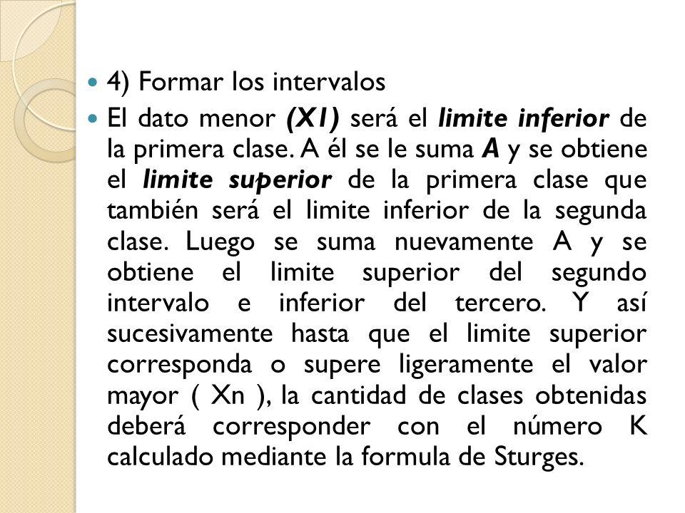 4) Formar los intervalos