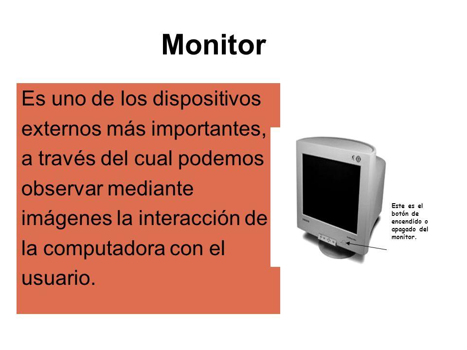 Monitor Es uno de los dispositivos externos más importantes,
