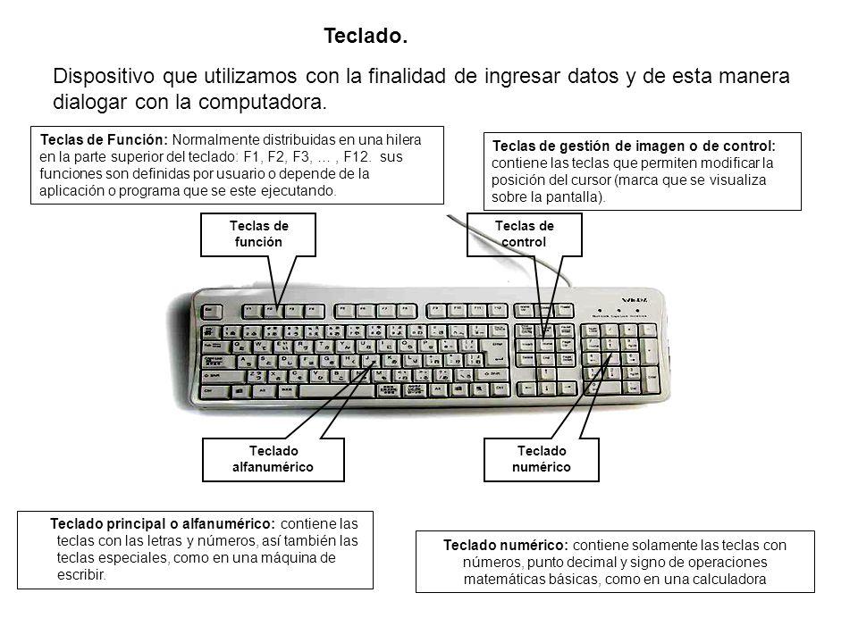 Teclado. Dispositivo que utilizamos con la finalidad de ingresar datos y de esta manera dialogar con la computadora.